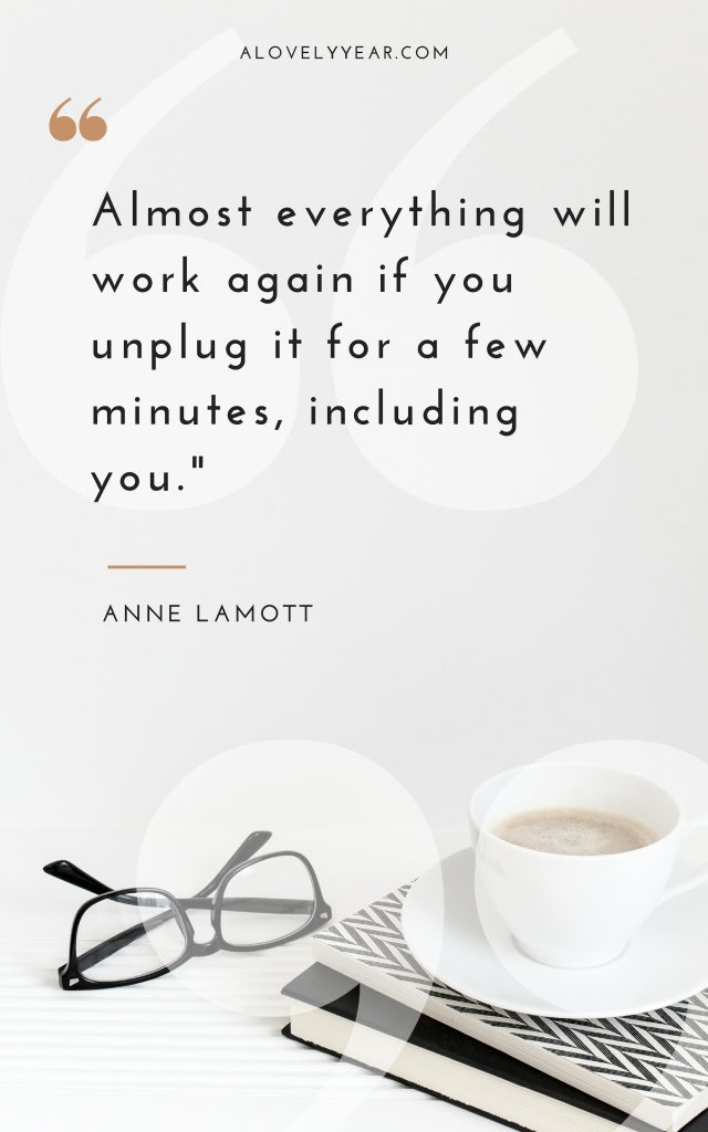 Almost everything will work again if you unplug it for a few minutes, including you. — Anne Lamott
