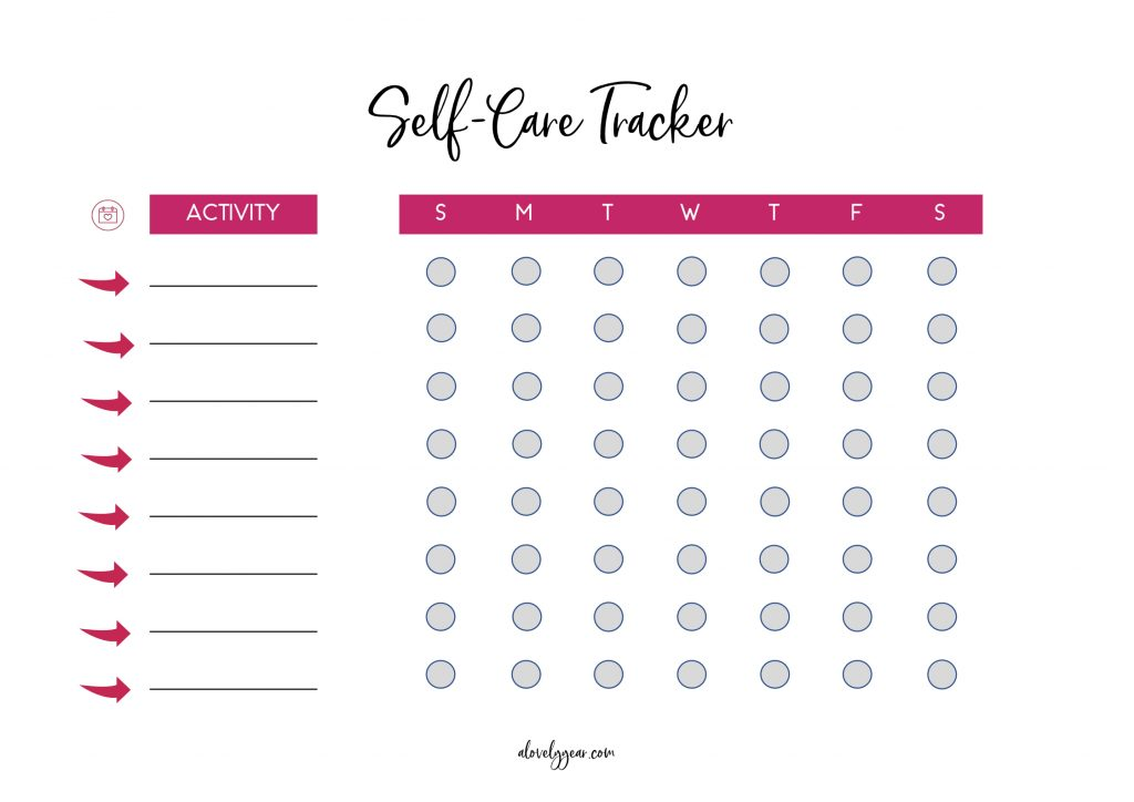 Weekly self-care tracker printable