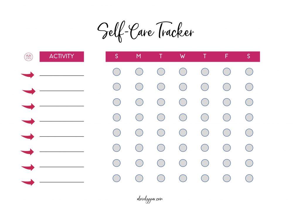 Weekly self-care tracker printable