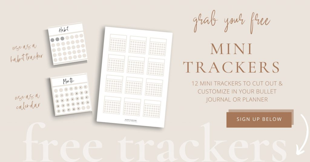 free mini trackers for your bullet journal or planner