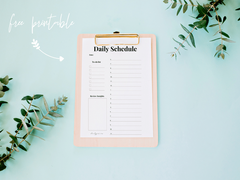 daily schedule printable on clipboard