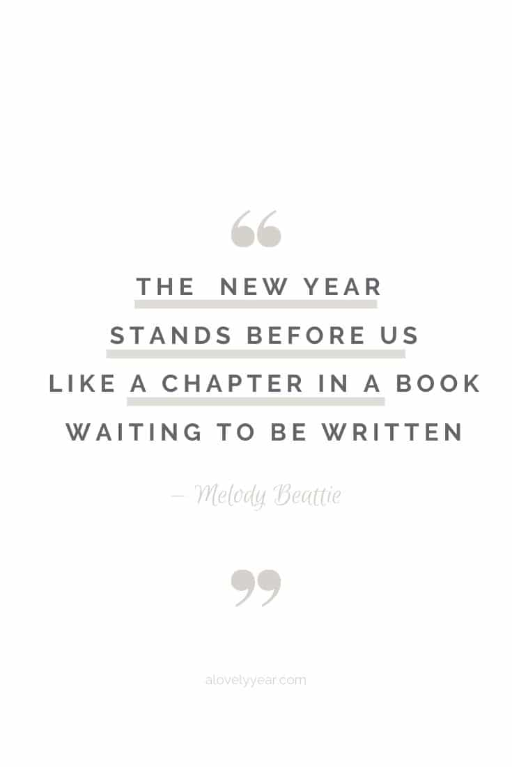The new year stands before us, like a chapter in a book, waiting to be written. --Melody Beattie
