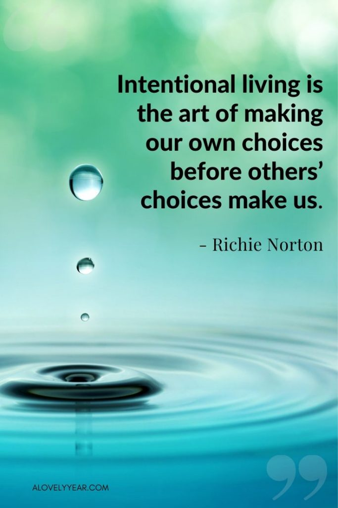 """""""Intentional living is the art of making our own choices before others' choices make us."""" -Richie Norton"""