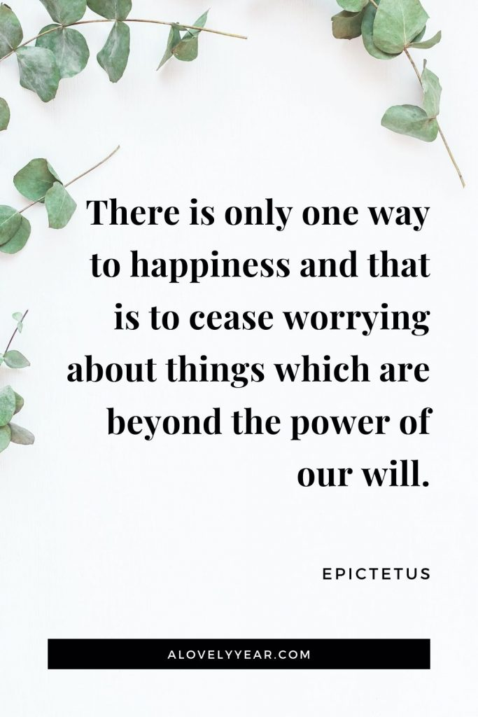 """There is only one way to happiness and that is to cease worrying about things which are beyond the power of our will."" - Epictetus"
