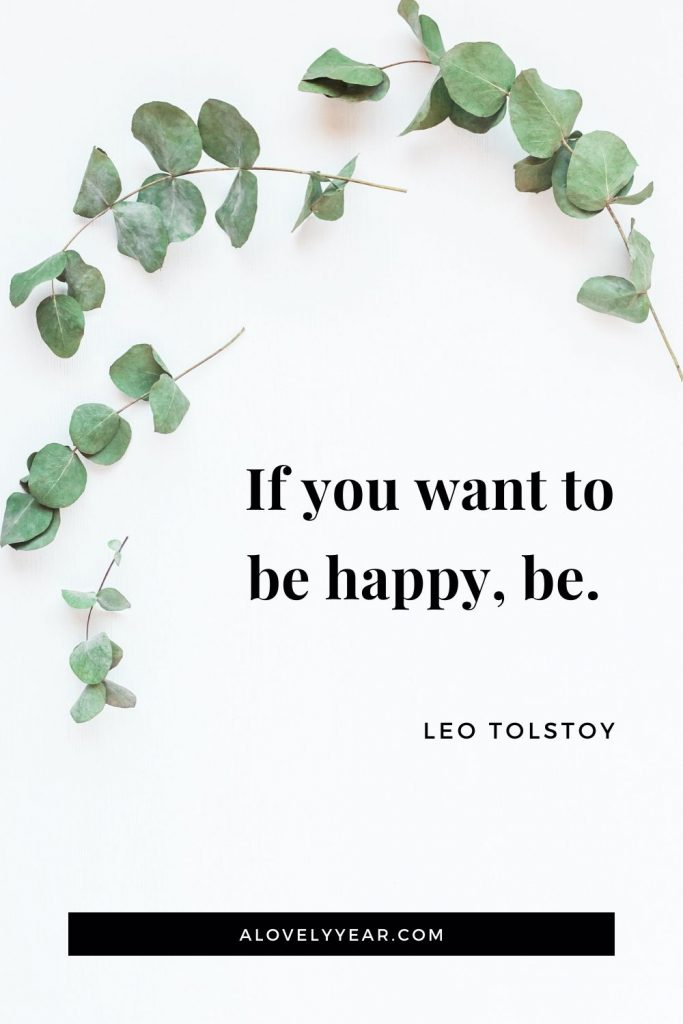 """If you want to be happy, be."" - Leo Tolstoy"