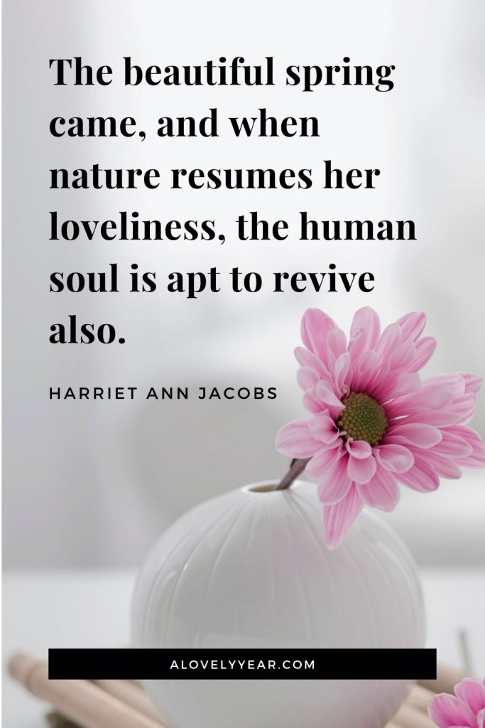 The beautiful spring came, and when nature resumes her loveliness, the human soul is apt to revive also. - Harriet Ann Jacobs