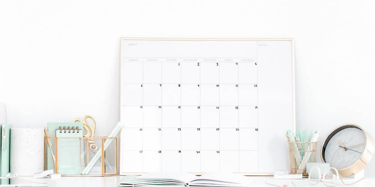 desk with blank calendar