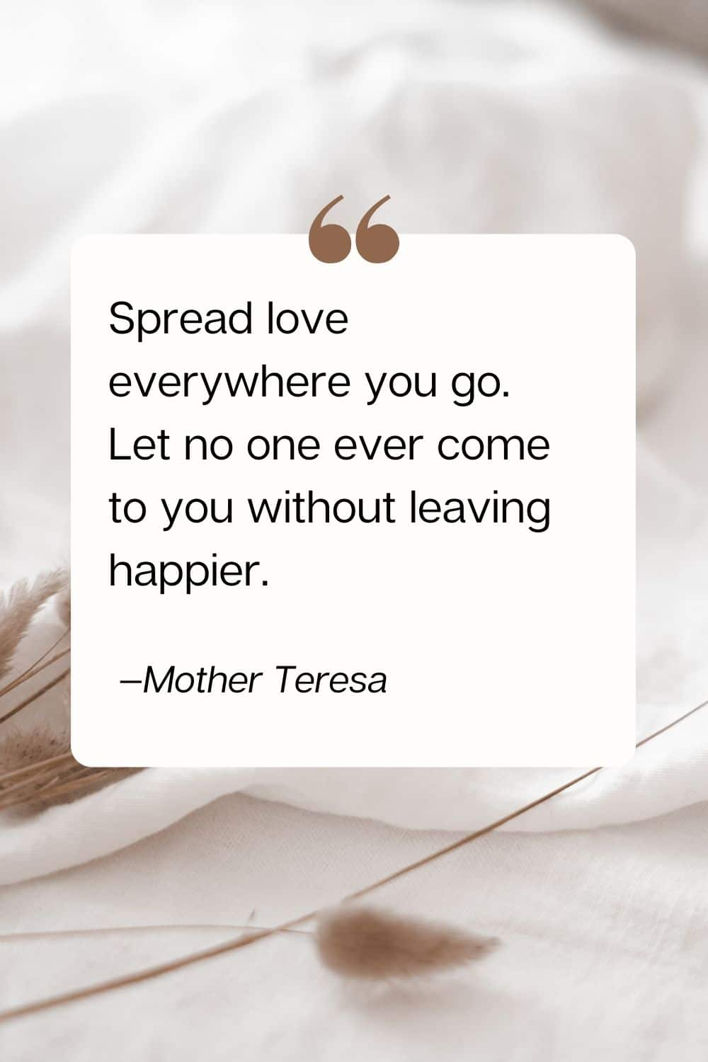 quote - Spread love everywhere you go. Let no one ever come to you without leaving happier. —Mother Teresa