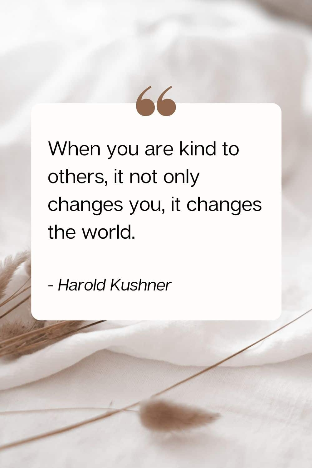 quote - When you are kind to others, it not only changes you, it changes the world. - Harold Kushner