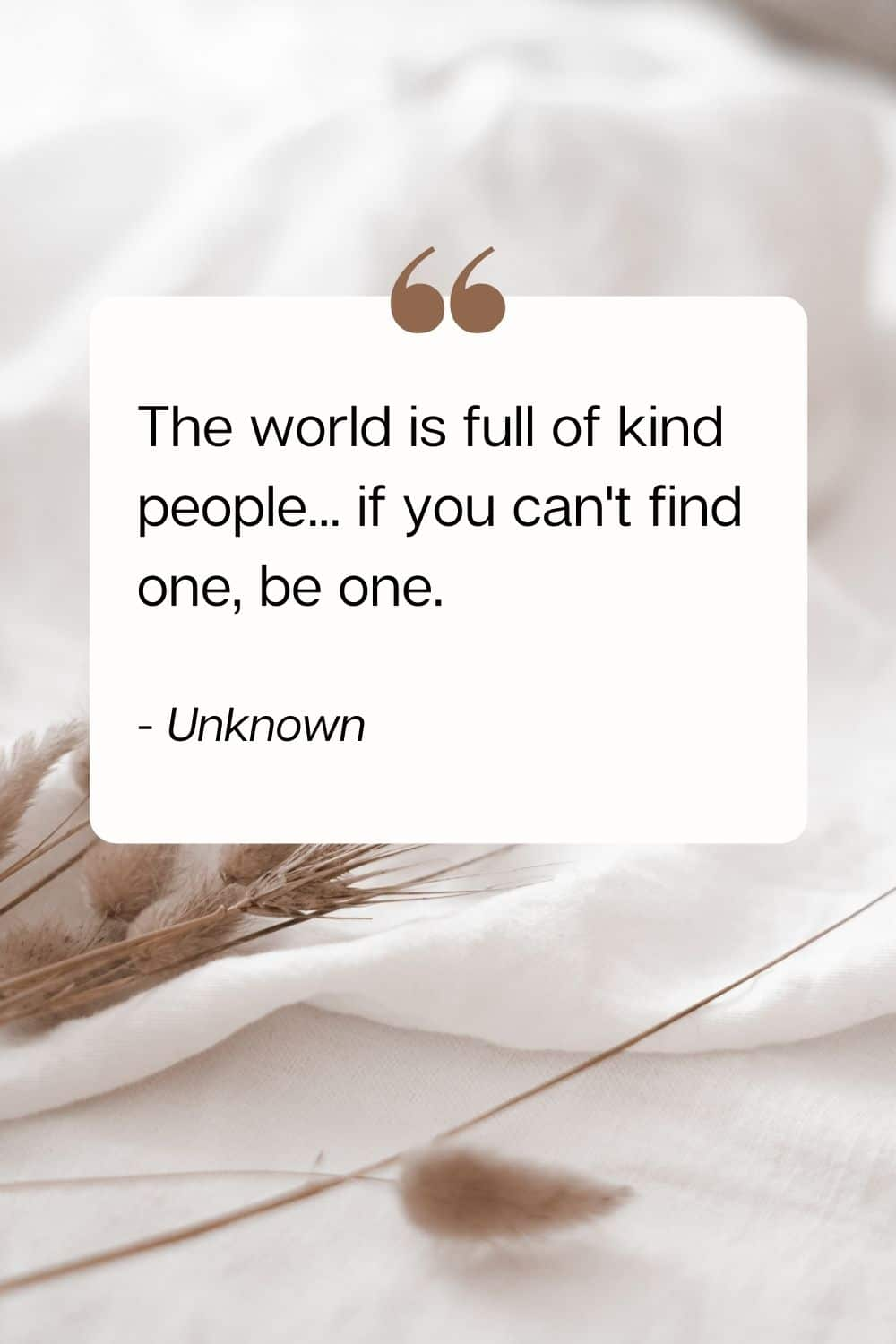 quote - The world is full of kind people... if you can't find one, be one. - Unknown