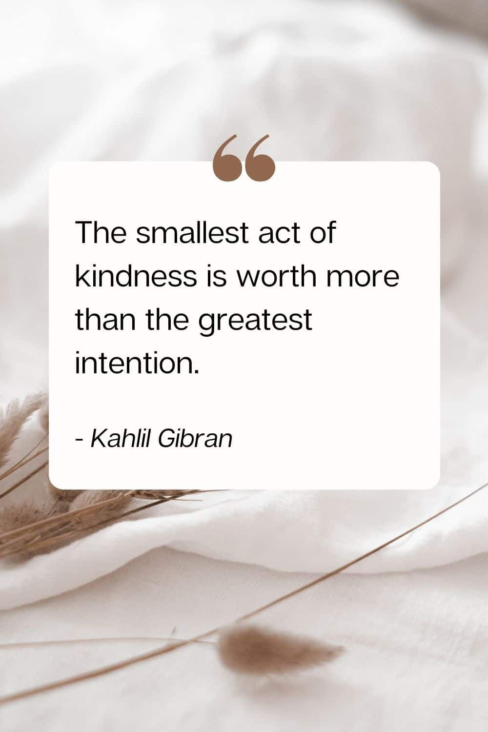 quote - The smallest act of kindness is worth more than the greatest intention. - Kahlil Gibran