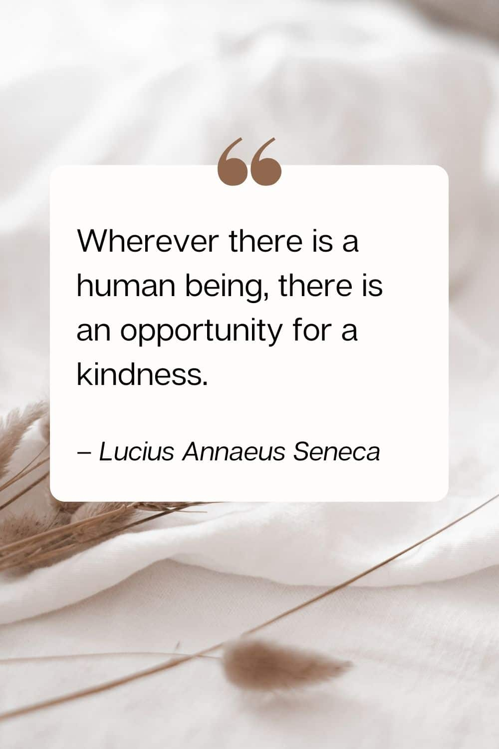 kindness quote - Wherever there is a human being, there is an opportunity for a kindness. – Lucius Annaeus Seneca