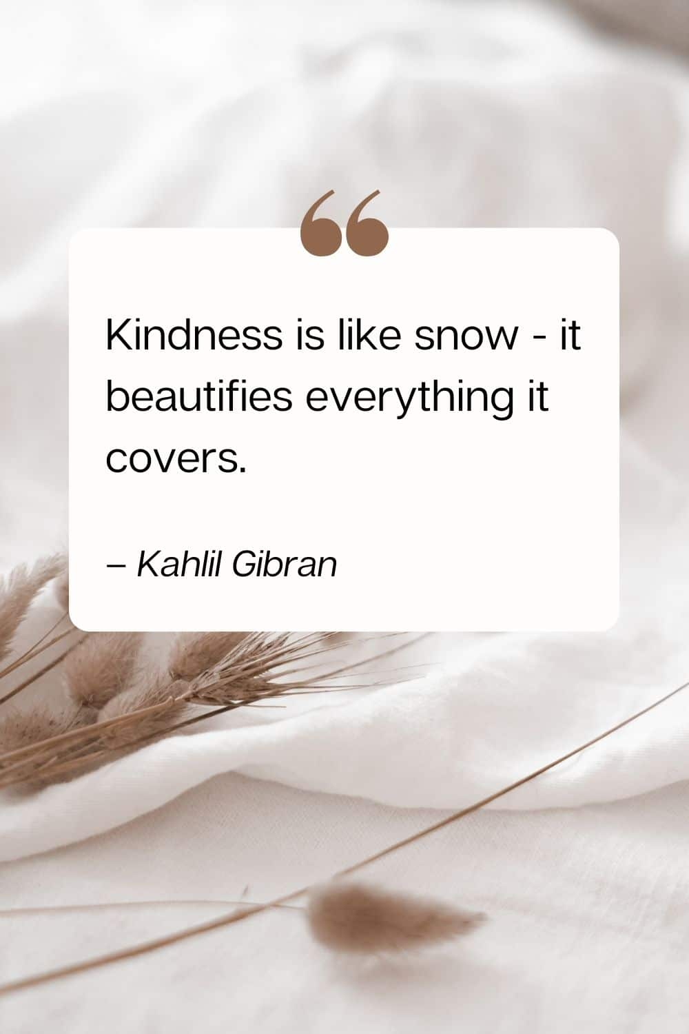 kindness quote - Kindness is like snow - it beautifies everything it covers. – Kahlil Gibran