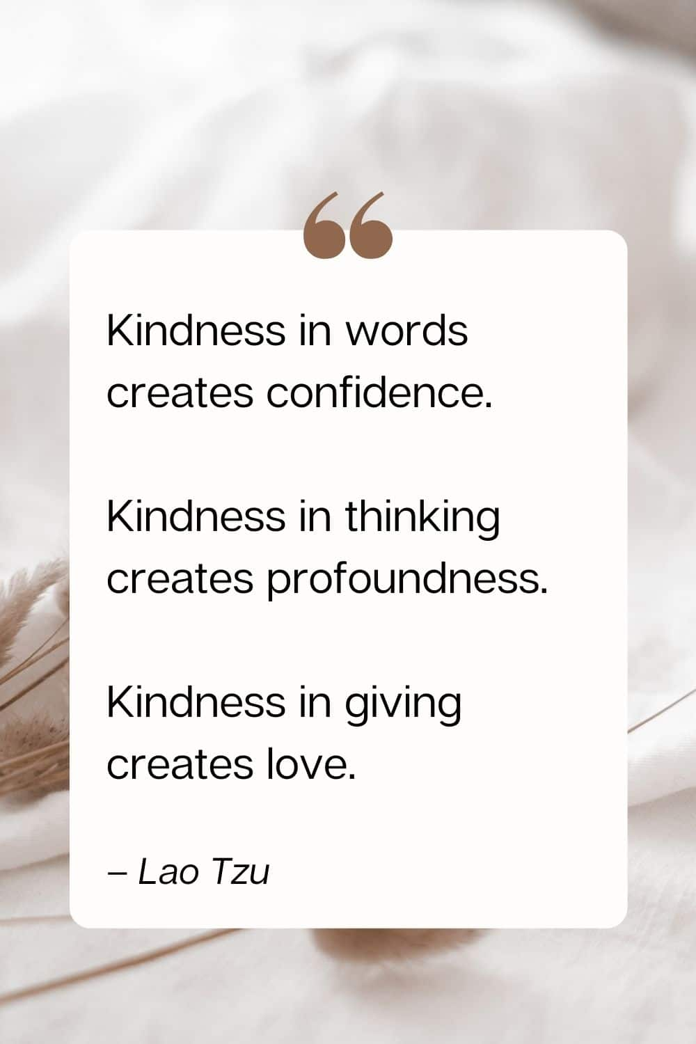 kindness quote - Kindness in words creates confidence. Kindness in thinking creates profoundness. Kindness in giving creates love. – Lao Tzu