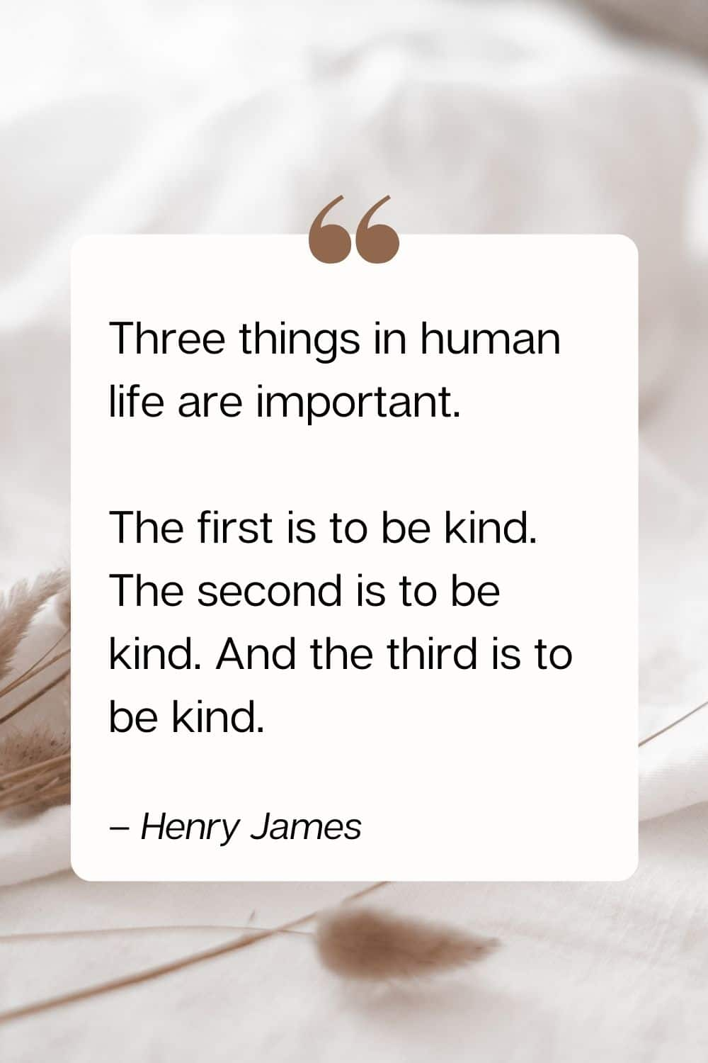 quote - Three things in human life are important. The first is to be kind. The second is to be kind. And the third is to be kind. – Henry James