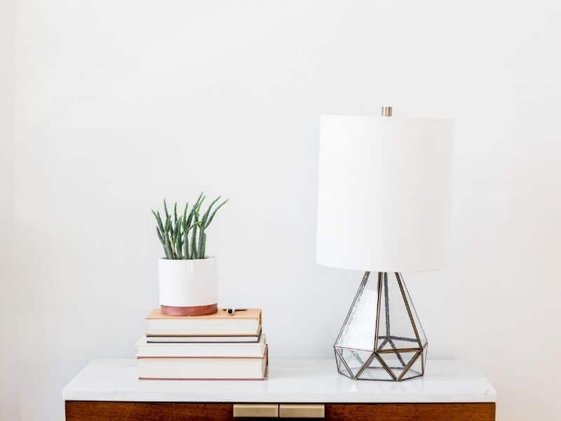 lamp next to books and plant