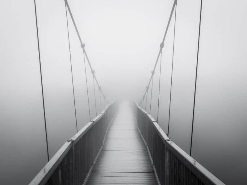 nordic ideas Sisu crossing mist shrouded bridge